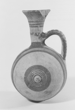 Cypriot. <em>Barrel-Jug</em>, 850-700 B.C.E. Terracotta, slip, 6 1/8 × 4 7/16 × 3 5/8 in. (15.5 × 11.2 × 9.2 cm). Brooklyn Museum, Bequest of William H. Herriman, 21.3. Creative Commons-BY (Photo: Brooklyn Museum, CUR.21.3_NegA_print_bw.jpg)