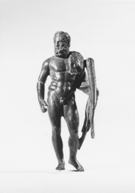 Roman. <em>Statuette of Hercules</em>, 1st-2nd century C.E. Bronze Brooklyn Museum, Bequest of William H. Herriman, 21.479.11. Creative Commons-BY (Photo: Brooklyn Museum, CUR.21.479.11_NegA_print_bw.jpg)