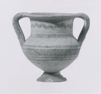 Cypriot. <em>Amphoriskos</em>, 850-700 B.C.E. Terracotta, slip, 3 7/16 x Diam. 2 15/16 in. (8.8 x 7.4 cm). Brooklyn Museum, Bequest of William H. Herriman, 21.479.1. Creative Commons-BY (Photo: Brooklyn Museum, CUR.21.479.1_NegA_print_bw.jpg)
