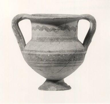 Cypriot. <em>Amphoriskos</em>, 850-700 B.C.E. Terracotta, pigment, 3 7/16 x Diam. 2 15/16 in. (8.8 x 7.4 cm). Brooklyn Museum, Bequest of William H. Herriman, 21.479.1. Creative Commons-BY (Photo: Brooklyn Museum, CUR.21.479.1_print_NegA_bw.jpg)