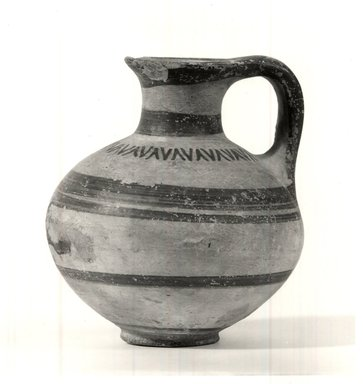 Helladic. <em>Jug</em>. Clay, slip, Ht. 10.4 cm. Diam.9.4cm. Brooklyn Museum, Bequest of William H. Herriman, 21.479.2. Creative Commons-BY (Photo: Brooklyn Museum, CUR.21.479.2_print_NegA_bw.jpg)