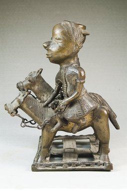 <em>Male and Female Figures on Horses</em>, before 1922. Copper alloy, 6 11/16 x 4 5/16 x 4 15/16 in. (17 x 11 x 12.5 cm). Brooklyn Museum, Museum Expedition 1922, Robert B. Woodward Memorial Fund, 22.115. Creative Commons-BY (Photo: Brooklyn Museum, CUR.22.115_side1_PS5.jpg)
