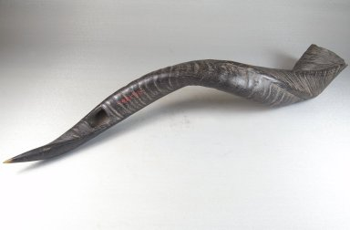 <em>Trumpet</em>, late 19th or early 20th century. Antelope horn, 2 3/8 x 21 5/8 in. (6 x 55 cm). Brooklyn Museum, Museum Expedition 1922, Robert B. Woodward Memorial Fund, 22.1305. Creative Commons-BY (Photo: Brooklyn Museum, CUR.22.1305_threequarter_PS5.jpg)