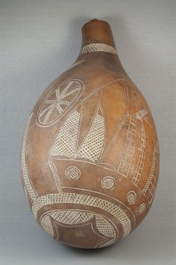 <em>Calabash</em>, before 1922. Calabash, clay, height: 13 3/4 in. (35 cm); diameter: 7 1/2 in. (19.1 cm). Brooklyn Museum, Museum Expedition 1922, Robert B. Woodward Memorial Fund, 22.1355. Creative Commons-BY (Photo: Brooklyn Museum, CUR.22.1355_front_PS5.jpg)