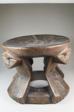 Pende. <em>Stool with Caryatid Figures</em>, 19th century. Wood, applied material, 7 1/16 x 5 1/8 in. (17.9 x 13 cm). Brooklyn Museum, Museum Expedition 1922, Robert B. Woodward Memorial Fund, 22.1389. Creative Commons-BY (Photo: Brooklyn Museum, CUR.22.1389_front_PS5.jpg)