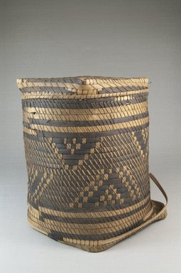Possibly Kongo. <em>Basket with Cover</em>, late 19th-early 20th century. Fiber, cane, raffia, height: (22.0 cm). Brooklyn Museum, Museum Expedition 1922, Robert B. Woodward Memorial Fund, 22.1406a-b. Creative Commons-BY (Photo: Brooklyn Museum, CUR.22.1406a-b_front_PS5.jpg)
