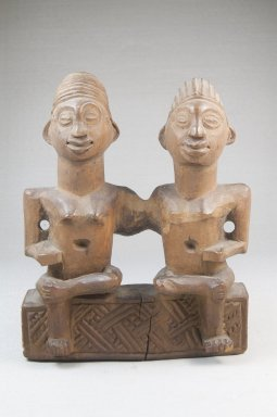Vili. <em>Seated Couple</em>, 19th century. Wood, 7 x 5 3/4 x 2 1/2 in. (17.5 x 14.2 x 6.5 cm). Brooklyn Museum, Museum Expedition 1922, Robert B. Woodward Memorial Fund, 22.1446. Creative Commons-BY (Photo: Brooklyn Museum, CUR.22.1446_front_PS5.jpg)