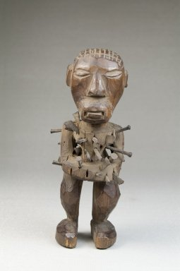 Songye. <em>Power Figure (Nkishi)</em>, late 19th or early 20th century. Wood, metal, 5 1/4 x 2 x 2 in. (13.0 x 5.0 x 5.0 cm). Brooklyn Museum, Museum Expedition 1922, Robert B. Woodward Memorial Fund, 22.1449. Creative Commons-BY (Photo: Brooklyn Museum, CUR.22.1449_front_PS5.jpg)