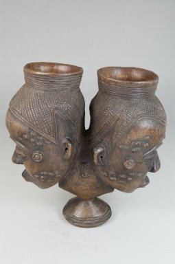 Kuba (Bushoong subgroup). <em>Janus-Faced Goblet (Mbwoongntey)</em>, early 20th century. Wood, 5 3/4 x 5 1/2 in. (14.5 x 14.0 cm). Brooklyn Museum, Museum Expedition 1922, Robert B. Woodward Memorial Fund, 22.1488. Creative Commons-BY (Photo: Brooklyn Museum, CUR.22.1488_front_PS5.jpg)