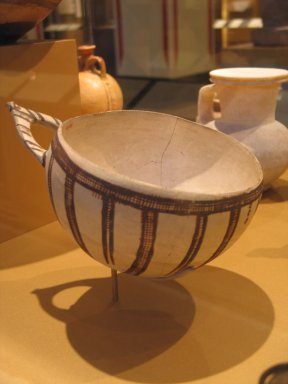 Cypriot. <em>Milk-bowl</em>, ca. 1400-1225 B.C.E. Terracotta, pigment, 4 1/4 x 6 1/2 x 8 1/2 in. (10.8 x 16.5 x 21.6 cm). Brooklyn Museum, Gift of Mrs. Frederic H. Betts, 22.14. Creative Commons-BY (Photo: Brooklyn Museum, CUR.22.14_erg2.jpg)