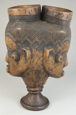 Kuba. <em>Goblet with Double Head (Mbwoongntey)</em>, early 20th century. Wood, 8 9/16 x 5 5/16 in. (21.8 x 13.5 cm). Brooklyn Museum, Museum Expedition 1922, Robert B. Woodward Memorial Fund, 22.162. Creative Commons-BY (Photo: Brooklyn Museum, CUR.22.162_side_PS5.jpg)