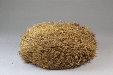 Possibly Kongo. <em>Basketry Cap</em>, late 19th century. Raffia, height: 2 3/4 in. (7 cm); diameter: 6 5/16 in. (16 cm). Brooklyn Museum, Museum Expedition 1922, Robert B. Woodward Memorial Fund, 22.1643. Creative Commons-BY (Photo: Brooklyn Museum, CUR.22.1643_front_PS5.jpg)