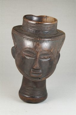 Kuba. <em>Single Head Goblet (Mbwoongntey)</em>, early 20th century. Wood, 6 7/8 x 4 1/8 x 4 1/8 in. (17.5 x 10.5 x 10.5 cm). Brooklyn Museum, Museum Expedition 1922, Robert B. Woodward Memorial Fund, 22.167. Creative Commons-BY (Photo: Brooklyn Museum, CUR.22.167_front_PS5.jpg)