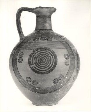 Cypriot. <em>Oinochoe</em>, 700-600 B.C.E. Terracotta, pigment, 12 5/16 x Diam. of body 8 3/4 in. (31.3 x 22.3 cm). Brooklyn Museum, Gift of Mrs. Frederic H. Betts, 22.16. Creative Commons-BY (Photo: Brooklyn Museum, CUR.22.16_print_NegA_bw.jpg)