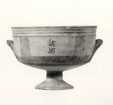 Cypriot. <em>Kylix</em>, 850-700 B.C.E. Terracotta, pigment, 3 1/16 x Diam with handle 4 3/4 in. (7.7 x 12 cm). Brooklyn Museum, Gift of Mrs. Frederic H. Betts, 22.21. Creative Commons-BY (Photo: Brooklyn Museum, CUR.22.21_print_NegA_bw.jpg)