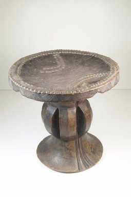 Mangbetu. <em>Stool</em>, late 19th or early 20th century. Wood, copper alloy, 12 3/4 x 12 1/4 x 12 1/4 in. (32.4 x 31.1 x 31.1 cm). Brooklyn Museum, Museum Expedition 1922, Robert B. Woodward Memorial Fund, 22.233. Creative Commons-BY (Photo: Brooklyn Museum, CUR.22.233_front_PS5.jpg)