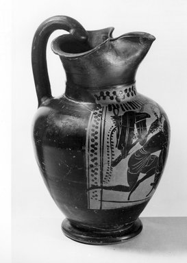 Attributed to Red Line Painter. <em>Black-Figure Oinochoe</em>, ca. 500 B.C.E. Clay, pigment, 8 1/4 x Diam. of body 5 1/4 in. (21 x 13.4 cm). Brooklyn Museum, Gift of Mrs. Frederic H. Betts, 22.27. Creative Commons-BY (Photo: Brooklyn Museum, CUR.22.27_NegA_print_bw.jpg)