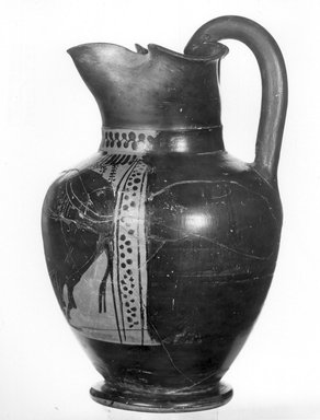 Attributed to Red Line Painter. <em>Black-Figure Oinochoe</em>, ca. 500 B.C.E. Clay, pigment, 8 1/4 x Diam. of body 5 1/4 in. (21 x 13.4 cm). Brooklyn Museum, Gift of Mrs. Frederic H. Betts, 22.27. Creative Commons-BY (Photo: Brooklyn Museum, CUR.22.27_NegF_print_bw.jpg)