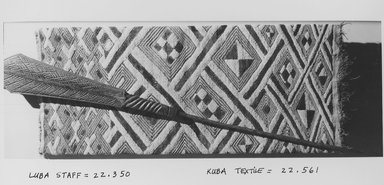 Luba. <em>Ceremonial Staff (Kibango)</em>, late 19th-20th century., 45 11/16 in. (116 cm). Brooklyn Museum, Gift of Thomas A. Eddy, 22.350. Creative Commons-BY (Photo: , CUR.22.350_22.561_print_bw.jpg)