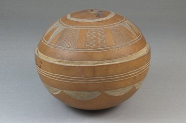 <em>Bowl</em>, before 1922. Gourd, leather, height: 3 15/16 in. (10 cm); diameter: 4 7/16 in. (11.3 cm). Brooklyn Museum, Museum Expedition 1922, Robert B. Woodward Memorial Fund, 22.367. Creative Commons-BY (Photo: Brooklyn Museum, CUR.22.367_front_PS5.jpg)