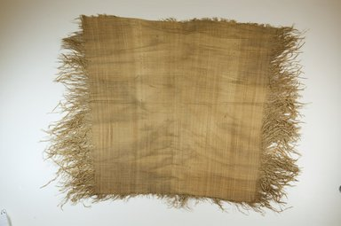 "Possibly Kuba. <em>Raffia Cloth</em>, 19th century. Raffia, L: 19 1/2"" ( 49 cm), W: 25"" ( 64 cm) includes 3"" fringe at side. Brooklyn Museum, Museum Expedition 1922, Robert B. Woodward Memorial Fund, 22.469.4. Creative Commons-BY (Photo: Brooklyn Museum, CUR.22.469.4_top_PS5.jpg)"