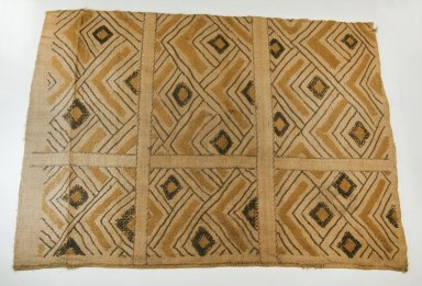 Kuba (Nkutshu subgroup). <em>Raffia Cloth</em>, 19th century., 28 9/16 x 24 5/8 in.  (72.5 x 62.5 cm). Brooklyn Museum, Museum Expedition 1922, Robert B. Woodward Memorial Fund, 22.568. Creative Commons-BY (Photo: Brooklyn Museum, CUR.22.568_top_PS5.jpg)