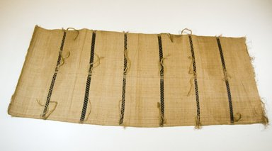 <em>Raffia Cloth</em>, 19th century. Raffia, other non-raffia fiber (possibly jute yarn), 61 x 23 1/4 in. (154.9 x 59 cm). Brooklyn Museum, Museum Expedition 1922, Robert B. Woodward Memorial Fund, 22.571. Creative Commons-BY (Photo: Brooklyn Museum, CUR.22.571_top_PS5.jpg)