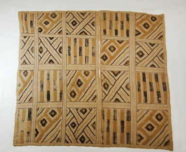 Kuba (Pyaang subgroup). <em>Raffia Cut-Pile Panel</em>, 19th century. Raffia, 25 3/16 x 25 9/16 in. (64 x 65 cm). Brooklyn Museum, Museum Expedition 1922, Robert B. Woodward Memorial Fund, 22.585. Creative Commons-BY (Photo: Brooklyn Museum, CUR.22.585_top_PS5.jpg)