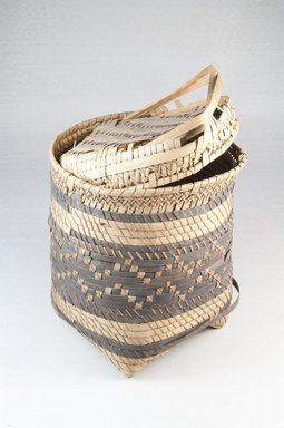 <em>Basket with Cover</em>, early 20th century. Vegetal fiber, height: (18.6 cm). Brooklyn Museum, Museum Expedition 1922, Robert B. Woodward Memorial Fund, 22.826a-b. Creative Commons-BY (Photo: Brooklyn Museum, CUR.22.826a-b_front_PS5.jpg)