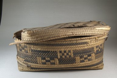 <em>Oblong Plaited Basket</em>, early 20th century. Vegetal fiber, cane, raffia, 14 x 8 x 5 1/2 in. (35.8 x 18.5 x 14.8 cm). Brooklyn Museum, Museum Expedition 1922, Robert B. Woodward Memorial Fund, 22.842a-b. Creative Commons-BY (Photo: Brooklyn Museum, CUR.22.842a-b_front_PS5.jpg)