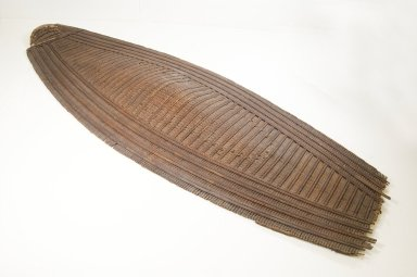 Ngbaka sub-group of Manza ethnic complex. <em>Shield</em>, late 19th century. Fiber, wood, leather, 51 9/16 x 18 1/8 in. (131 x 46 cm). Brooklyn Museum, Museum Expedition 1922, Robert B. Woodward Memorial Fund, 22.851. Creative Commons-BY (Photo: Brooklyn Museum, CUR.22.851_front_PS5.jpg)