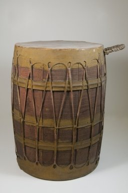 <em>Drum</em>, late 19th or early 20th century. Wood, leather, 11 5/16 x 11 13/16 in. (44.0 x 30.0 cm). Brooklyn Museum, Museum Expedition 1922, Robert B. Woodward Memorial Fund, 22.885. Creative Commons-BY (Photo: Brooklyn Museum, CUR.22.885_front_PS5.jpg)