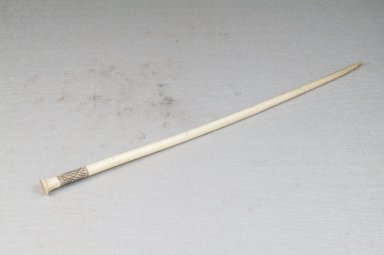 <em>Hair Pin</em>. Engraved ivory, 7 3/4 in. (19.7 cm). Brooklyn Museum, Museum Expedition 1922, Robert B. Woodward Memorial Fund, 22.913. Creative Commons-BY (Photo: Brooklyn Museum, CUR.22.913_threequarter_PS5.jpg)