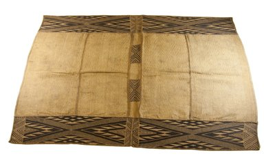 Mbuun. <em>Raffia Cloth</em>, 19th century. Raffia, 43 x 29 3/4 in. (110.0 x 75.5 cm). Brooklyn Museum, Museum Expedition 1922, Robert B. Woodward Memorial Fund, 22.994. Creative Commons-BY (Photo: Brooklyn Museum, CUR.22.994_top_PS5.jpg)