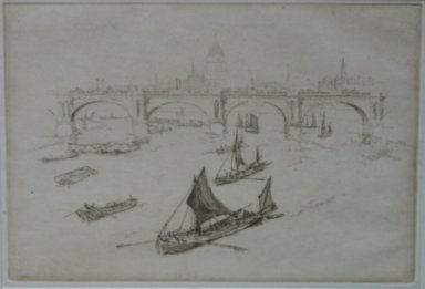 Joseph Pennell (American, 1860-1926). <em>Waterloo Bridge</em>, 1893. Etching, Sheet (irregular): 10 x 10 15/16 in. (25.4 x 27.8 cm). Brooklyn Museum, Brooklyn Museum Collection, 23.117 (Photo: Brooklyn Museum, CUR.23.117.jpg)