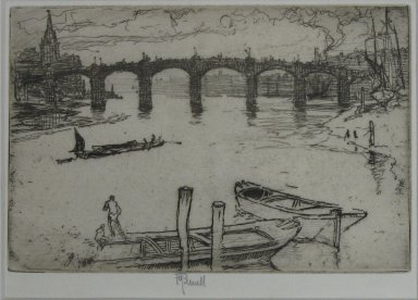 Joseph Pennell (American, 1860-1926). <em>Vauxhall Bridge</em>, 1893. Etching, Sheet: 5 1/2 x 9 1/8 in. (14 x 23.2 cm). Brooklyn Museum, Brooklyn Museum Collection, 23.118 (Photo: Brooklyn Museum, CUR.23.118.jpg)
