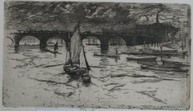 Joseph Pennell (American, 1860-1926). <em>London Bridge</em>, 1893. Etching, Sheet: 5 5/8 x 9 in. (14.3 x 22.9 cm). Brooklyn Museum, Brooklyn Museum Collection, 23.137 (Photo: Brooklyn Museum, CUR.23.137.jpg)