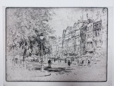 Joseph Pennell (American, 1860-1926). <em>Cheyne Walk, Chelsea</em>, 1906. Etching, Image: 7 5/8 x 10 1/2 in. (19.4 x 26.6 cm). Brooklyn Museum, Brooklyn Museum Collection, 23.150 (Photo: Brooklyn Museum, CUR.23.150_overall.jpg)