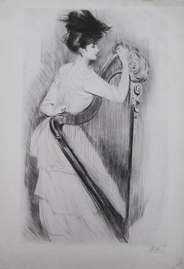 Paul-César Helleu (French, 1859-1927). <em>The Harp</em>. Drypoint on wove paper, 21 5/16 x 13 3/16 in. (54.2 x 33.5 cm). Brooklyn Museum, Gift of Edward C. Blum, 23.283.3 (Photo: Brooklyn Museum, CUR.23.283.3.jpg)