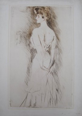 Paul-César Helleu (French, 1859-1927). <em>Portrait of Madame Letellier at 17 Years</em>. Drypoint in color on wove paper, 21 7/16 x 13 3/16 in. (54.5 x 33.5 cm). Brooklyn Museum, Gift of Edward C. Blum, 23.283.4 (Photo: Brooklyn Museum, CUR.23.283.4.jpg)