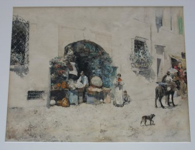 Robert Frederick Blum (American, 1857-1903). <em>Market Scene, Spain</em>, 1881. Watercolor, 18 1/16 x 21 7/8 in. (45.9 x 55.6 cm). Brooklyn Museum, Frederick Loeser Fund, 23.75 (Photo: Brooklyn Museum, CUR.23.75.jpg)