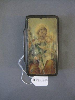 <em>Rectangular Box</em>. Wood, paint, metal, 1 x 1 3/4 x 3 3/4 in. (2.5 x 4.4 x 9.5 cm). Brooklyn Museum, 24.437.74. Creative Commons-BY (Photo: Brooklyn Museum, CUR.24.437.74.jpg)
