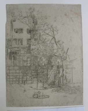 Julian Alden Weir (American, 1852-1919). <em>My Backyard, Number One</em>, 1890. Etching and drypoint on laid paper, 7 7/16 x 6 in. (18.9 x 15.2 cm). Brooklyn Museum, Gift of Elizabeth Luther Cary, 25.101 (Photo: Brooklyn Museum, CUR.25.101.jpg)
