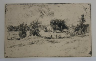 Julian Alden Weir (American, 1852-1919). <em>The Farm</em>, 1889. Etching on wove paper, 2 3/8 x 3 3/4 in. (6 x 9.5 cm). Brooklyn Museum, Gift of Elizabeth Luther Cary, 25.104 (Photo: Brooklyn Museum, CUR.25.104.jpg)