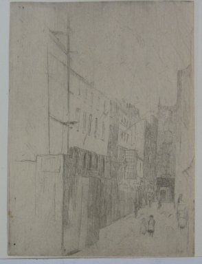 Julian Alden Weir (American, 1852-1919). <em>Adam and Eve Street, Number One</em>, 1889. Etching on laid paper, 4 7/8 x 3 9/16 in. (12.4 x 9 cm). Brooklyn Museum, Gift of Elizabeth Luther Cary, 25.105 (Photo: Brooklyn Museum, CUR.25.105.jpg)