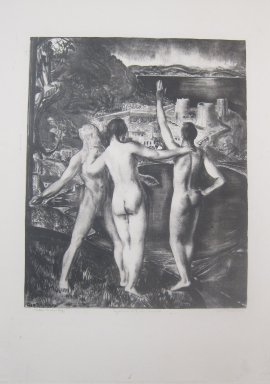George Wesley Bellows (American, 1882-1925). <em>Lychnis and Her Sons</em>, 1923. Lithograph on cream, medium-weight, slightly textured wove Japanese paper, Sheet: 25 11/16 x 18 11/16 in. (65.2 x 47.5 cm). Brooklyn Museum, Museum Collection Fund, 25.137. © artist or artist's estate (Photo: Brooklyn Museum, CUR.25.137.jpg)