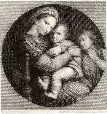 Rafaello Morghen (Italian, 1758-1833). <em>Madonna Della Sedia</em>, 1832. Engraving on wove paper, 7 13/16 x 6 5/16 in. (19.8 x 16.1 cm). Brooklyn Museum, Gift of Mrs. Frederic B. Pratt, 25.184 (Photo: Brooklyn Museum, CUR.25.184.jpg)
