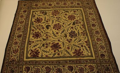 <em>Textile; Kalimkari Cover</em>, 19th century. Cotton, 35 13/16 x 35 13/16 in. (91 x 91 cm). Brooklyn Museum, 25.782. Creative Commons-BY (Photo: Brooklyn Museum, CUR.25.782.jpg)