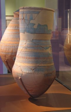 <em>Blue-painted Water Jar</em>, ca. 1352-1332 B.C.E. Clay, pigment, 25 1/16 x Diam. 12 5/8 in. (63.7 x 32 cm). Brooklyn Museum, Gift of the Egypt Exploration Society, 25.858. Creative Commons-BY (Photo: Brooklyn Museum, CUR.25.858_erg456.jpg)