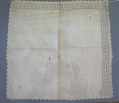 <em>Christening Cloth</em>, 19th century. Linen, 28 3/4 x 28 in. (73 x 71.1 cm). Brooklyn Museum, 25.893.3 (Photo: Brooklyn Museum, CUR.25.893.3.jpg)